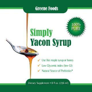 Simply Yacon Syrup   100% Pure Yacon Syrup as seen on Dr Oz. Healthy natural sugar substitute, low GI (low glycemic index), low calorie, FOS pre biotic with weight loss benefits. Limited stock   buy yours today. 8oz bottle.  Grocery & Gourmet Food