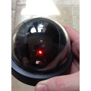 SE FC9955 Dummy Security Camera with Dome Shape and 1 Red Flashing Light  Fake Security Camera  Camera & Photo