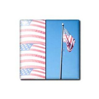 3dRose ct_79783_4 An American Flag on The Page Several Times in Red, White and Blue Ceramic Tile, 12 Inch   Decorative Tiles