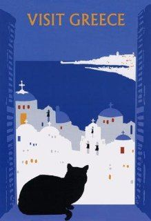 "CAT Visit Greece Black Cat Window. Several sizes available. Travel 12"" X 16"" Image Size Vintage Poster Reproduction   Prints"