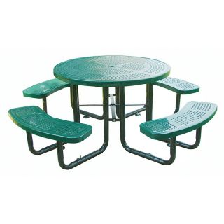Leisure Craft Commercial Round Perforated Metal Picnic Table