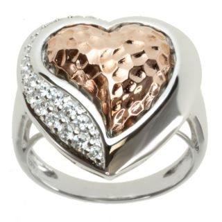 Michael Valitutti Signity Two tone Cubic Zirconia Heart Ring
