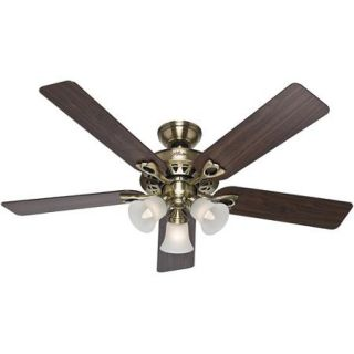 "Hunter Fans 52"" Sontera Ceiling Fan, Antique Brass"