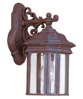 Sea Gull Hill Gate Outdoor Hanging Wall Lantern   13.5H in. Textured Rust   Outdoor Wall Lights