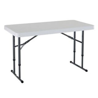 Lifetime 4 Adjustable Commercial Grade Folding Table, White Granite