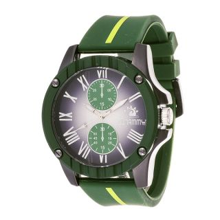 Zunammy Mens Gun Metal Case and Black Dial with Green Rubber Strap