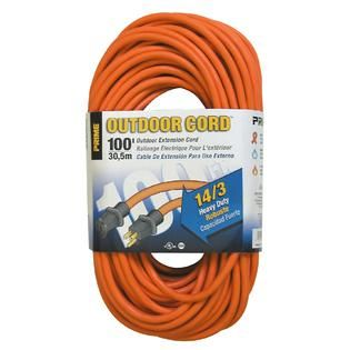 Prime Wire & Cable  Heavy Duty Outdoor Extension Cord 100ft. 14/3 SJTW