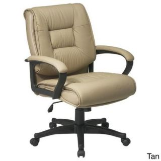 Office Star Products 'Work Smart' Glove Soft or Top Grain Leather Contour Mid Seat and Back Chair Tan Glove Soft Leather, Nylon Base Chair