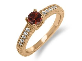 0.70 Ct Round Red Garnet White Sapphire 925 Rose Gold Plated Silver Ring
