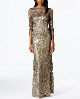 Tadashi Shoji Smoke Metallic Lace Evening Gown   Dresses   Women
