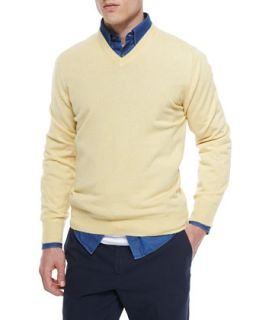 Brunello Cucinelli Cashmere V Neck Sweater, Yellow