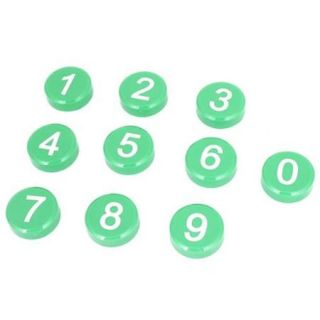 10 Pcs Magnetic Round Base Arabic Number Pattern Fridge Magnets Green