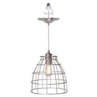 Worth Home Products 1 Light Brushed Nickel Instant Pendant Conversion Kit and Cage Shade PBN 5032 0030