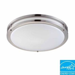 Hampton Bay 2 Light Brushed Nickel Fluorescent Ceiling Flushmount DC018P