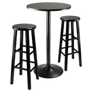 Piece Obsidian Bar Height Pub Table Set with Bar Stools Wood/Black