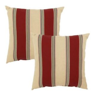 Hampton Bay Chili Stripe Outdoor Throw Pillow (2 Pack) DISCONTINUED 7050 02298000