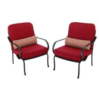 Hampton Bay Fall River Patio Lounge Chair with Dragonfruit Cushion (2 Pack) DY11034 L R