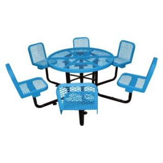 46 in. Round Commercial Grade Picnic Table with 6 Attached Chairs