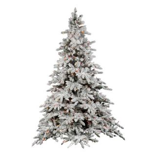 Vickerman 6.5 Flocked Utica Fir Artificial Christmas Tree 600 LED