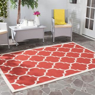 Safavieh Indoor/ Outdoor Courtyard Red/ Bone Rug (27 x 5)   15584452