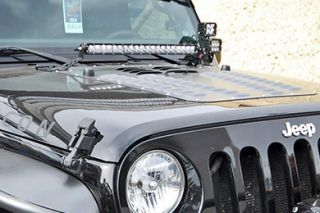 2007 2016 Jeep Wrangler Light Mounts & Wiring   Rigid Industries 40333   Rigid Industries Hood Lightbar Mount Kits