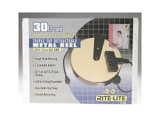 Bayco FL 800 Triple Tap Extension Cord Retractable Reel