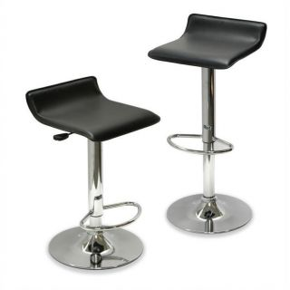 Winsome Spectrum Adjustable Air Lift Bar Stools in Black (Set of 2)   93329