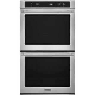 KitchenAid Pro Line Series 30 in. Double Electric Wall Oven Self Cleaning with Convection in Pro Style Stainless KEBS209BSP