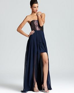 Nicole Miller Strapless Gown   Hi Lo Metallic Jacquard Top