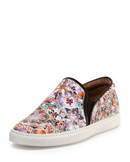 Tabitha Simmons Floral Print Leather Slip On Sneaker
