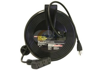 Bayco SL 801 Triple Tap Extension Cord   30' 14/3 on Metal Retractable Reel