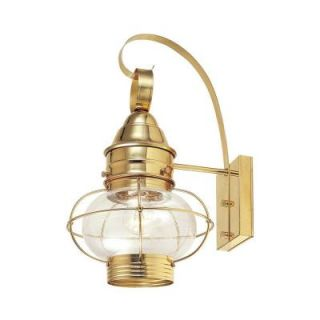 Hampton Bay Wall Mount Outdoor Polished Brass 10 in. Lantern DISCONTINUED 8221 01