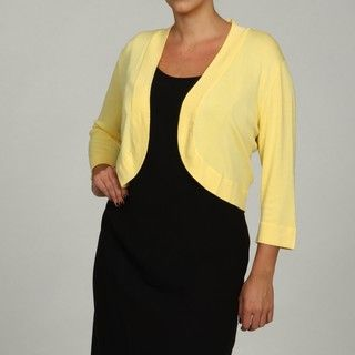 Jessica Howard Womens Plus Size Yellow 3/4 sleeve Sweater FINAL SALE