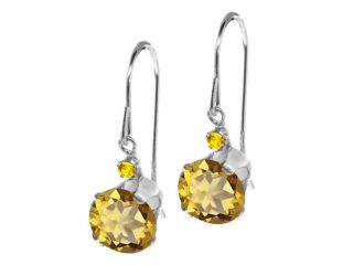 1.66 Ct Round Champagne Quartz Yellow Sapphire 14K White Gold Earrings