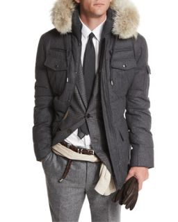 Brunello Cucinelli Cashmere Blend Parka Coat with Fur Trimmed Hood, Gray