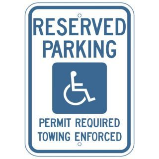 ZING Text and Symbol Reserved Parking Permit Required Towing Enforced, Heavy Duty Recycled Aluminum Handi   Parking and Traffic Signs   28AU85|2679