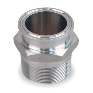 "PARKER 304 Stainless Steel Male Adapter, Tube x MNPT Connection Type, 1 1/2"" Tube Size   Sanitary Tube Fittings   1WCL5