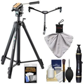 "Velbon Videomate 638 67"" 3 Sec Heavy Duty Geared Tripod with Panhead & Case + Video Tripod Dolly + Kit"