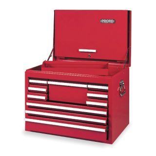 "PROTO Red Top Chest, 27"" Width x 18""  Depth x 19"" Height, Number of Drawers: 10   Tool Chests and Side Cabinets   1ZML3
