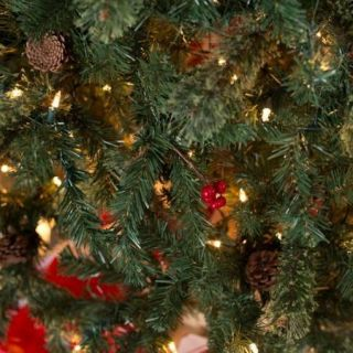 Classic Full Pre lit Christmas Tree with Berries and Pine Cones   Clear   7.5 ft.