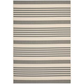 Safavieh Indoor/ Outdoor Courtyard Grey/ Bone Rug (9 x 12)