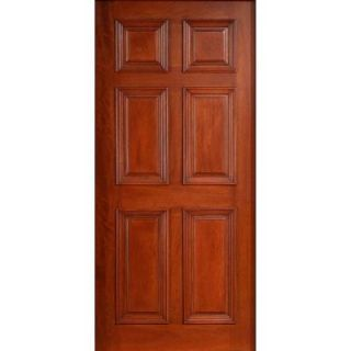 Main Door 36 in. x 80 in. Solid Mahogany Type Prefinished Cherry 6 Panel Front Door Slab SH 600 CH