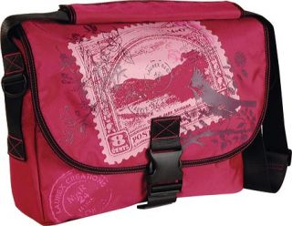 Womens Laurex 17.3 Laptop Large Slim Messenger Bag   Cherry Stamp