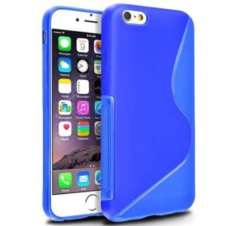 "Insten Slim Clear Blue S Shape TPU Rubber Case For Apple iPhone 6 6S 4.7"" Inches"