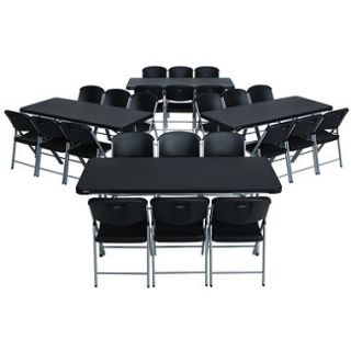 Lifetime Combo Four 6 Commercial Grade Folding Tables and 24 Folding Chairs, Black