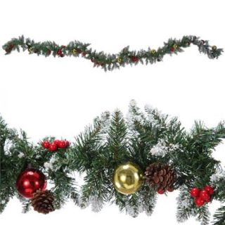 Homegear 9ft Decorated Christmas Pine Garland Holiday Decoration