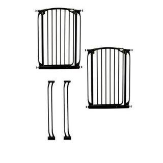 Dreambaby Chelsea 40 in. H Extra Tall Auto Close Security Gate in Black Value Pack with 2 Gates and 2 Extensions L788B