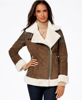 MICHAEL Michael Kors Faux Leather Trim Faux Shearling Moto Jacket