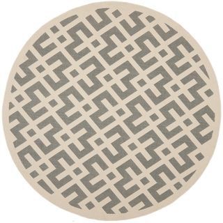 Safavieh Indoor/ Outdoor Courtyard Grey/ Bone Rug (710 Round