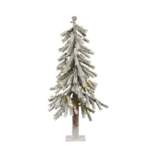 Vickerman 3 ft Pre Lit Alpine Flocked Artificial Christmas Tree with White Incandescent Lights